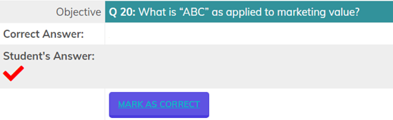 Objective question section with Mark As Correct button.