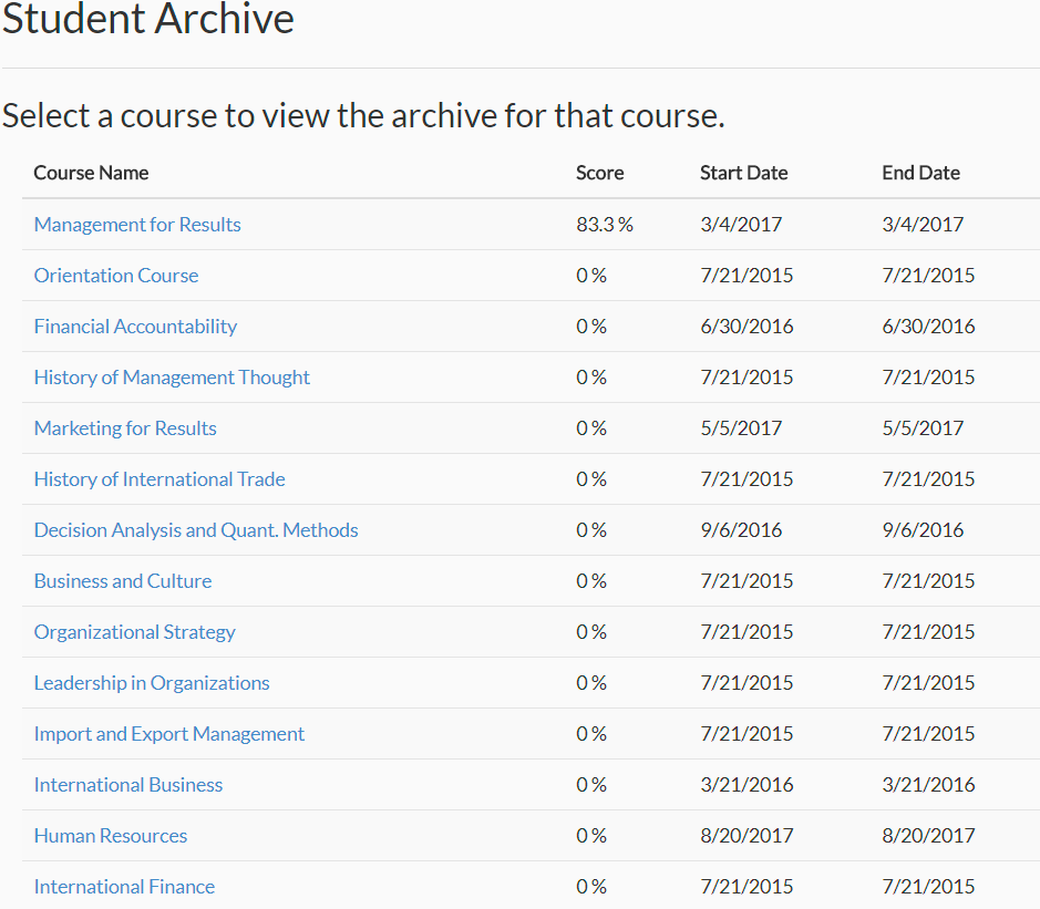 student archive example image